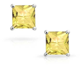 Neerupam Collection 92.5% Sterling Silver Natural Square Princess Citrine Solitaire Stud Earrings