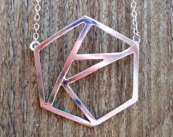 Sterling silver hexagon geometric pendant/necklace