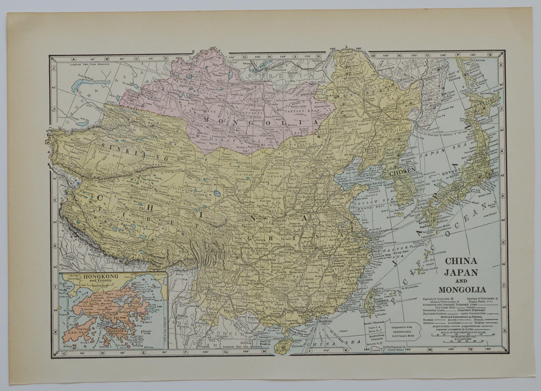 Vintage China Japan Map Mongolia Tibet Antique Asia - Japan map 9