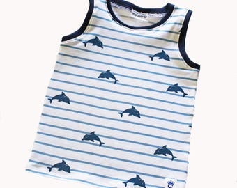 Tank Top, Top, Stripes, Dolphins, Blue, 5T