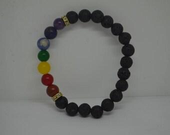 Beautiful 7 chakra braslets with lava beads