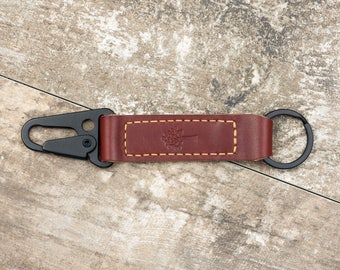 Nero Leather Keychain Lanyard // Full Grain Horween Leather // Best Gift for Him, Her & Friends // Canyon Red Color // Matte Black Hardware