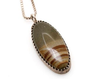 Picture Jasper Cabochon Sterling Silver Necklace in Sawtooth Setting