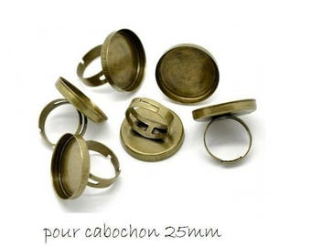 SET of 3 medium ring ring round 25mm bronze (W33)