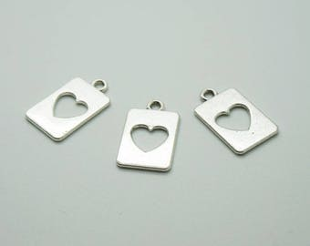 SET of 5 charms rectangle card silver heart ' D70)