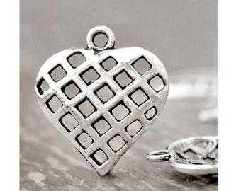 SET of 5 charms (B21) silver fancy heart