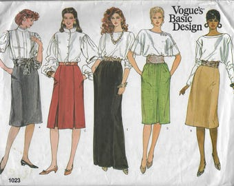 Vintage Vogue Basic Design Sewing Pattern 1023 Misses Petite Skirt Size 18 20 22  Uncut Factory Folded 1980s