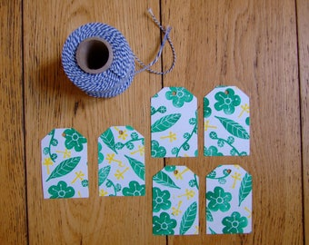 Green and yellow floral tags. stamped by hand. set of 6 labels