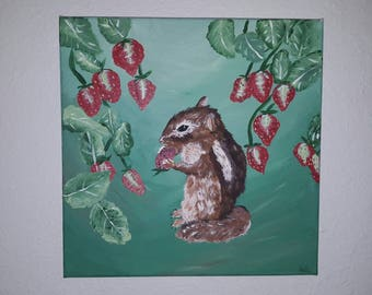 Chipmunk in the Strawberry Patch