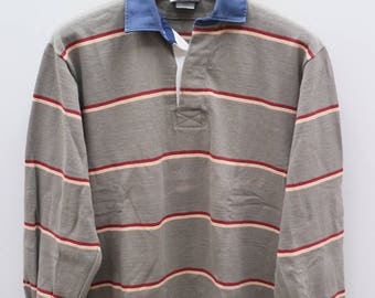 Vintage BARBARIAN Rugby Wear Brown Stripes Polos Shirts Size M