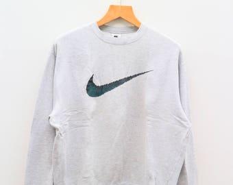 Vintage NIKE Big Logo Sportswear Gray Sweater Sweatshirts Size XL