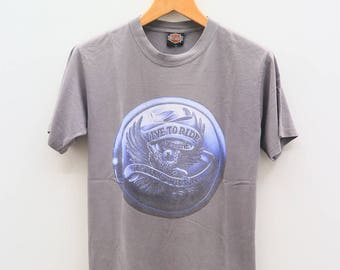 Vintage HARLEY DAVIDSON Motorcycle Live To Ride Gray Tee T Shirt Size M