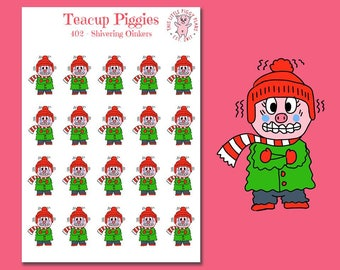 Teacup Piggies - Shivering Oinkers - Mini Planner Stickers - Winter Stickers - Freezing - Cold Weather - Weather Planner Stickers - [402]