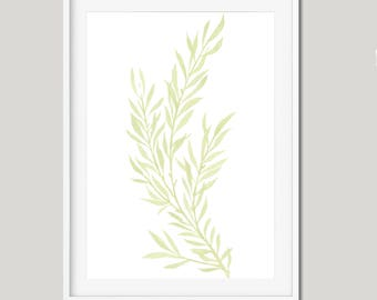 Modern Leaf Print, Minimalist Wall Print, Botanical Print