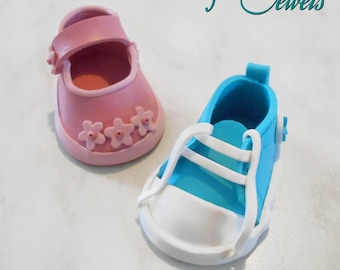 Baby Shoes-shoe in Fimo birth favor baptism-Handmade