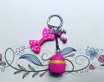 Pink Cupcake - polymer clay keychain