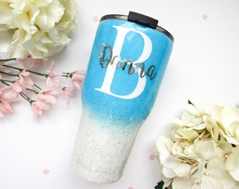 Blue and White Ombre Mixed Glitter Tumbler - Glitter Tumbler - Light Blue Tumbler - Ombre Tumbler - Glitter Yeti - Blue Tumbler - Yeti