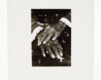 Vintage Framed 1977 Limited Edition Pencil Signed B&W Photograph Titled Hands of Maria