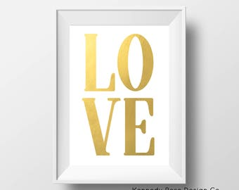 Gold Love Printable Wall Art, Typography Printable, Love Wall Decor, Instant Download