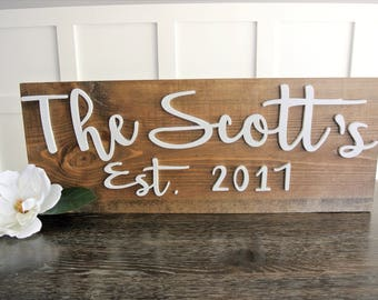 Personalized Name sign, personalized established sign, family sign, wedding gift, farmhouse, est. sign, last name sign, home decor