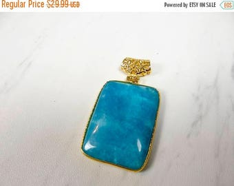 63% End of Summer Sale Beautiful Blue aquamarine gold plated Pendant/43x32mm