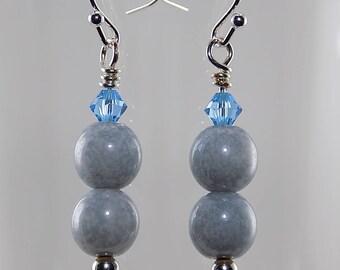 Czech glass beads, Swarovski crystals, blue,powder blue, silver wire