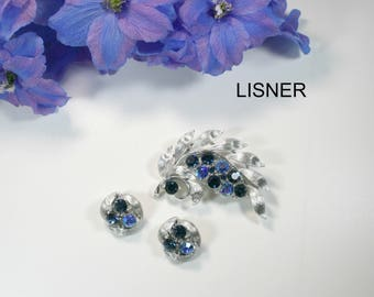 D. LISNER & Co. Vintage Signed Demi Parure Silver Plated Aurora Borealis Brooch and Earring Set