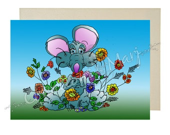 Parties, fun card congratulations, flowers card, card, thank you card mouse