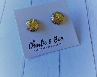 Glitter Studs - Glitter Earrings - Glitter Jewellery - Gold Glitter - Round Studs - Round Stud Earrings - Gold Glitter Studs - Gold Earrings