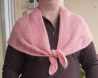 Pink mohair triangle shawl