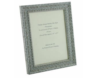 Hand made shabby chic ornate distressed Silver vintage photo frame for an A4 (297mm x 210mm)  picture or certificate.