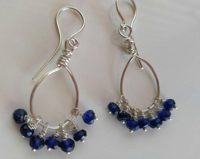 Boho earrings, Blue chandelier earrings, blue quartz  in Sterling Silver  Hand made dangle earrings Gift for her September birthstone