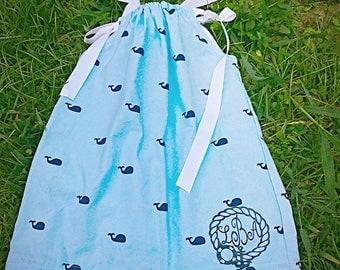 Girls monogrammed dress, nautical monogrammed dress.  Light blue with dark blue whales.  Matching monogrammed hairbow