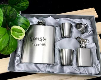 Personalised Birthday Gift Engraved Stainless Steel Hip Flask Set