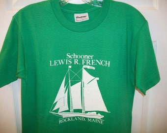 Vintage 80s Sailing T tee Shirt Small Lewis R. French Schooner Rockland Maine Camden Windjammer Boat Yacht Sailor New England America's Cup