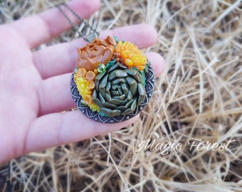 Green Succulent Pendant Green Yellow Succulent Necklace Pendant  Metal Basis Medallion Pendant Jewelry Succulent Birthday Accessory Gifts