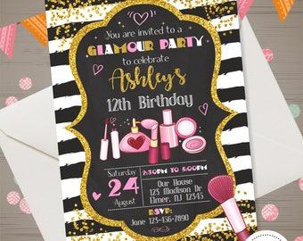 Glamour Invitation Glamour Birthday Invitation Girl Glamour Party Makeup Invitation Make up Birthday Makeover Party Beauty Queen Invitation