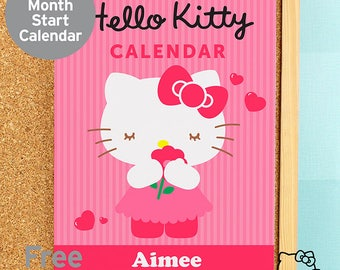 Personalised Hello Kitty Bow A4 Wall Calendar Official Licensed Gifts Ideas For Her Girls Womens New Home House Warming Years Kitchen