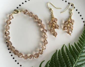 Champagne and Gold Bracelet and Earring Set
