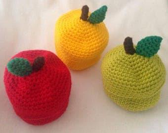 Apple treat box, crocheted apple gift holder, apple supply desk box