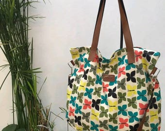 Multiple colors print fabric bag crossbody with two straps/ canvas bag/ beach bag / messenger bag/ zipper closure/ medium size