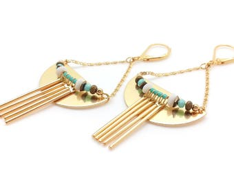 Earrings, pendant, ethnic, gilded with fine gold, glass beads, turquoise, fully done semiprecious stones hand.