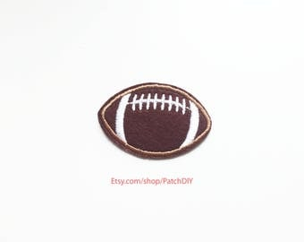 1x football ball brown white PATCH sport activity custom your jacket, clothes, hat, bag with an Iron On Embroidered Applique kid costume DIY