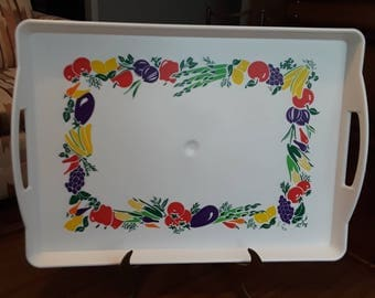 Vintage Plastic Large Serving Tray With Handles By Kraft Fruits And  Vegetables Vibrant Colors X 6