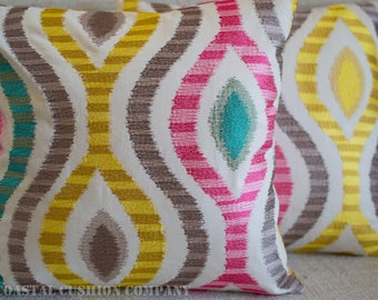 """Embroidered Ikat Style Cushion Cover. Handmade 17"""" x 17"""" pillow cover with embroidered trellis design. Pink, yellow, green, taupe."""