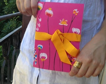Hand Painted fuchsia notebook, striped pages