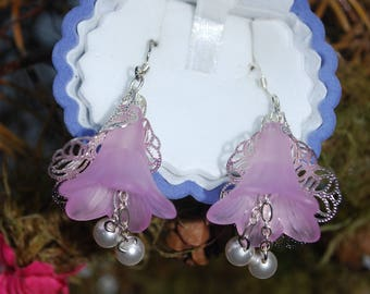 Sterling silver glass flower and pearl earrings