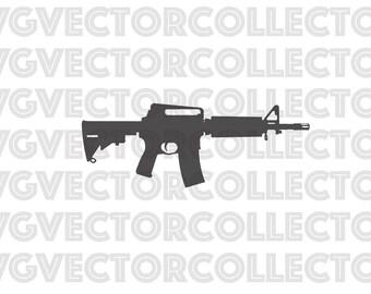 AR-15 Rifle Gun, Svg Dxf Eps Png, Clip Art, Instant Digital Download
