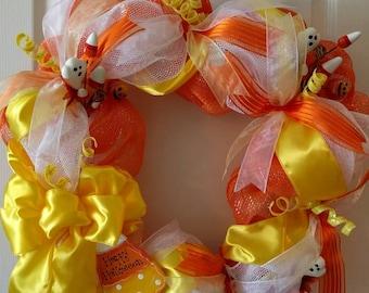 Christmas in July Sale, Candy Corn Wreath, fall wreath, Halloween wreath, Deco mesh wreath