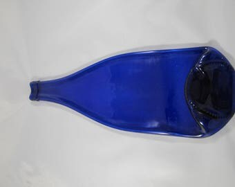 Cobalt Blue Recycled Wine Bottle Tray/ Spoon Rest